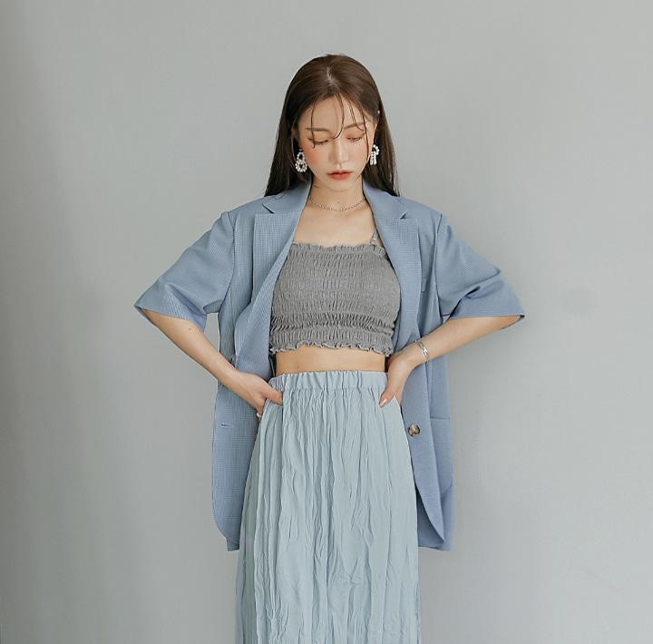 common-unique--와인다 체크 1/2 박시 핏 자켓♡韓國女裝外套