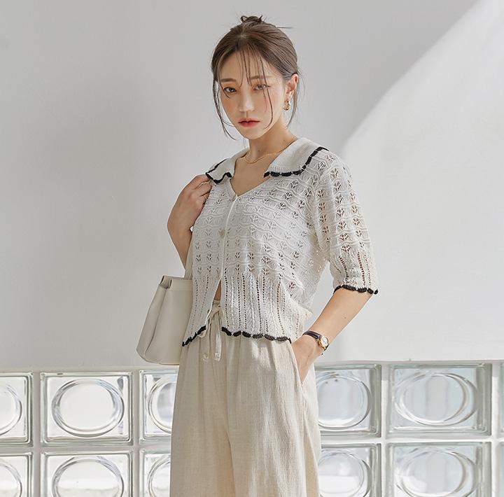 common-unique--렐로 펀칭 1/2 니트 가디건♡韓國女裝外套