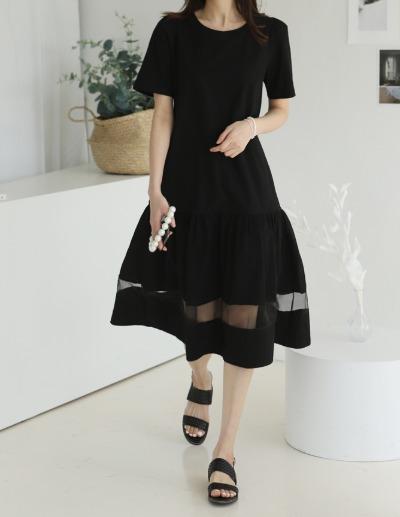 indibrand-시스루 캉캉 원피스 (수입)♡韓國女裝連身裙