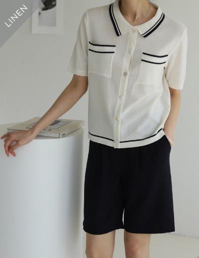 indibrand-포켓 카라 니트♡韓國女裝上衣