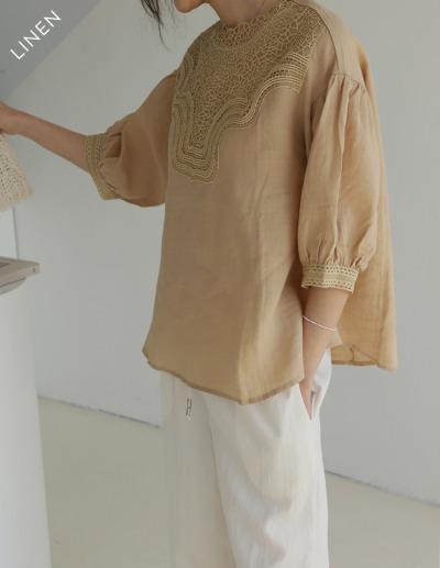indibrand-레이스 린넨 블라우스 (수입)♡韓國女裝上衣