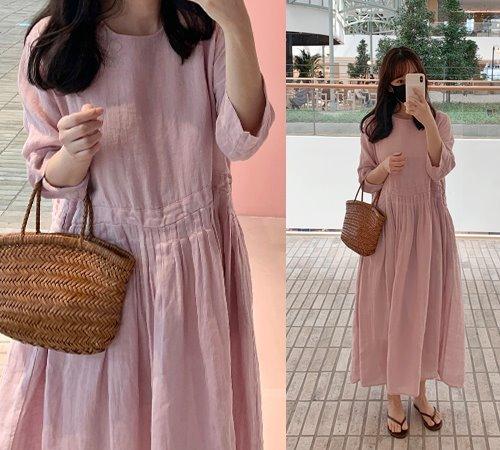 theozzang-헤이유 린넨롱원피스(린넨100%)♡韓國女裝連身裙