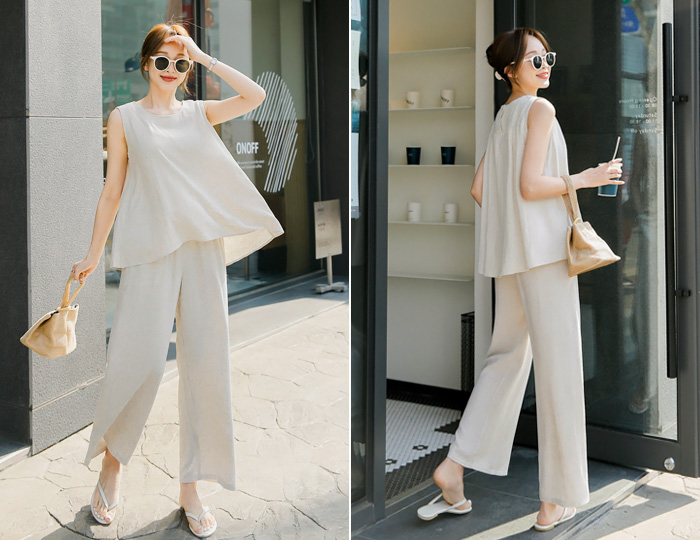pinksisly-[SET]네츄럴 린넨나시+와이드팬츠세트♡韓國女裝套裝