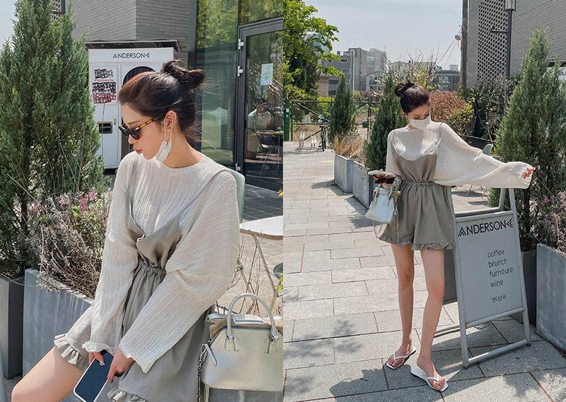 maybins-위즌 린넨 서스펜더 팬츠♡韓國女裝褲