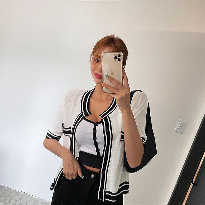 lagirl-테잎반팔니트가디건-cd♡韓國女裝外套
