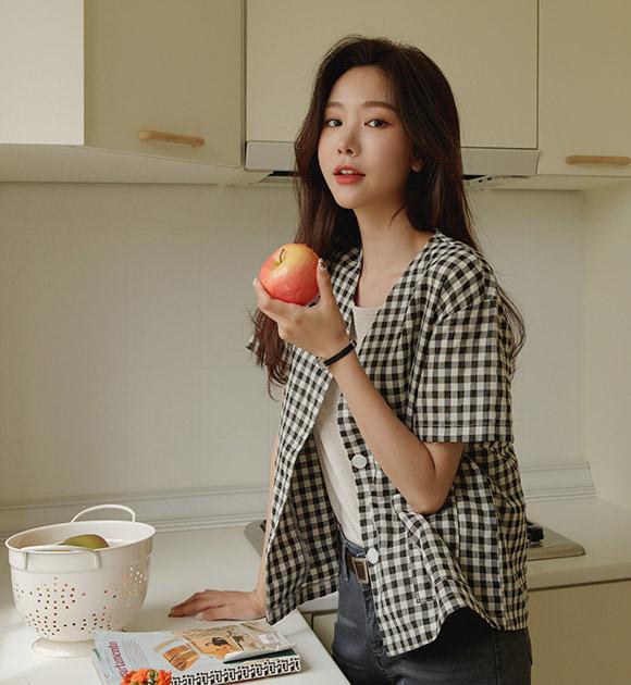 justone-슈링 깅엄체크 가벼운 반팔자켓♡韓國女裝外套