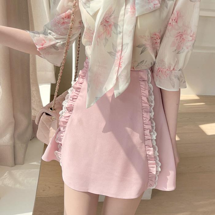 myfiona-요정레이스 미니에이 스커트a1477 - 러블리 로맨틱 1위 쇼핑몰 피오나♡韓國女裝裙