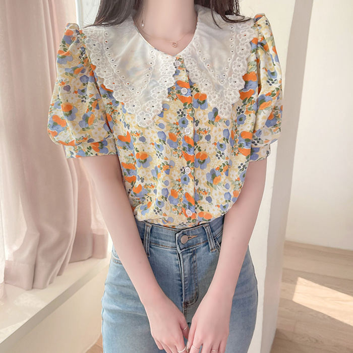 myfiona-니콜 카라레이스 플라워 블라우스 a1473 - 러블리 로맨틱 1위 쇼핑몰 피오나♡韓國女裝上衣
