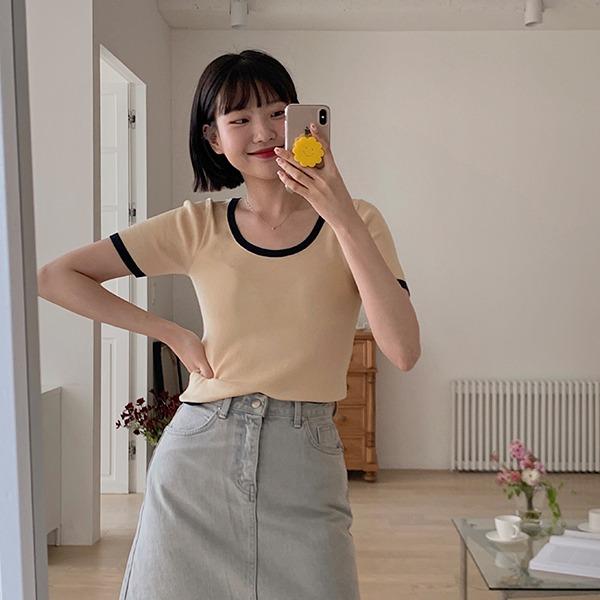 906studio-슬로건 반팔니트♡韓國女裝上衣