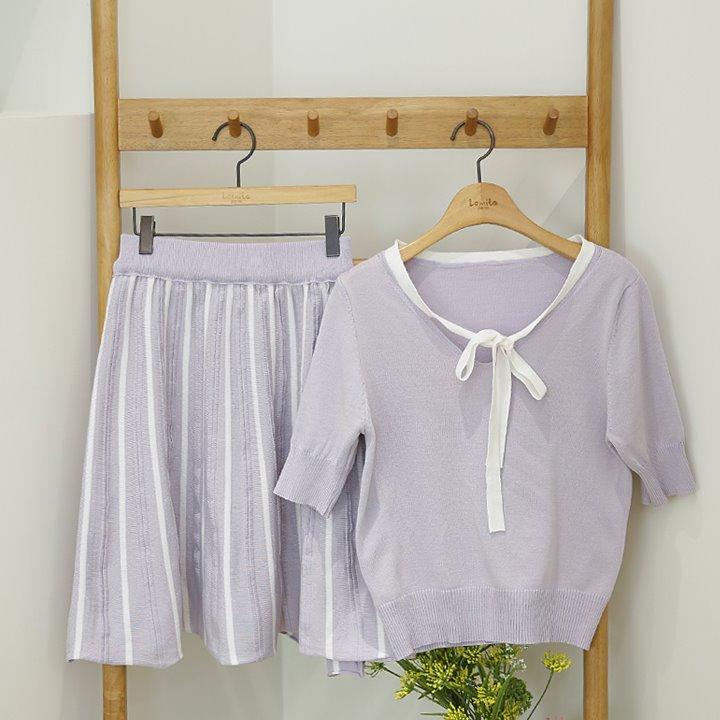 lemite-리본배색 니트세트(스커트+탑 셋트)♡韓國女裝套裝