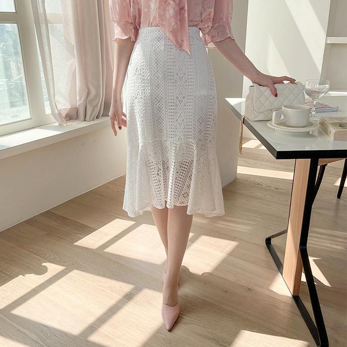 myfiona-밀크레이스 머메이드 미디스커트 a1472 - 러블리 로맨틱 1위 쇼핑몰 피오나♡韓國女裝裙