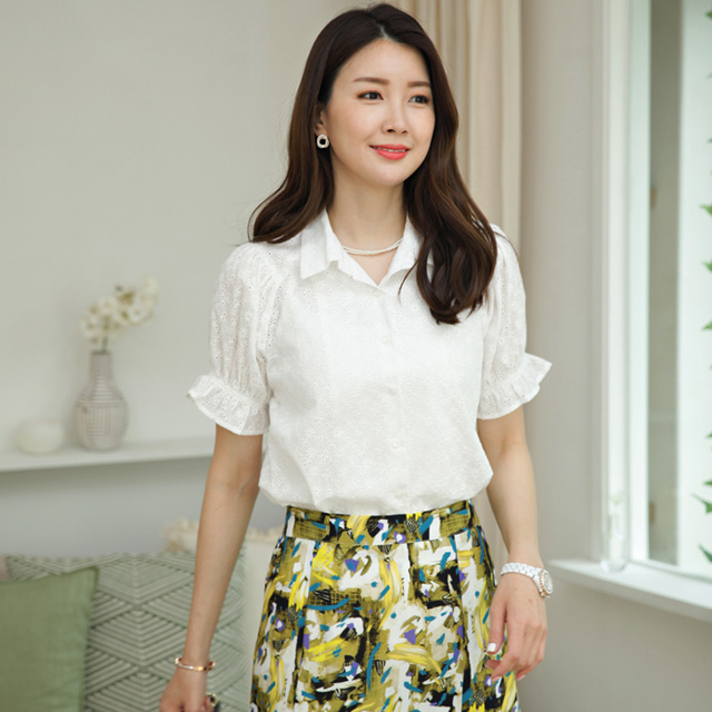 tiramisu-6949펀칭자수블라우스♡韓國女裝上衣