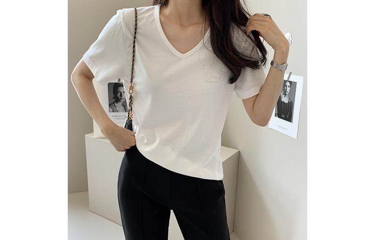 dailylook-심플브이넥티셔츠♡韓國女裝上衣