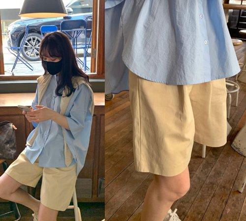 theozzang-안네 포켓핀턱반바지(뒷밴딩)♡韓國女裝褲
