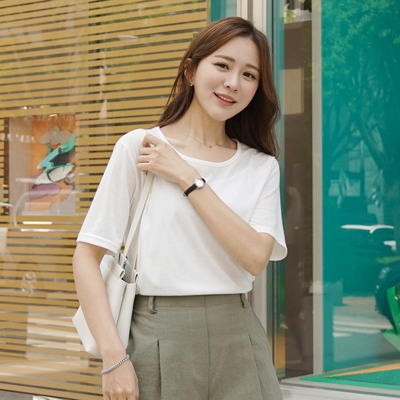 clicknfunny-솔핀드 라운드티셔츠♡韓國女裝上衣