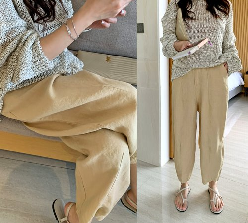 theozzang-비엘느 린넨슬랙스(밴딩/린넨100%)♡韓國女裝褲