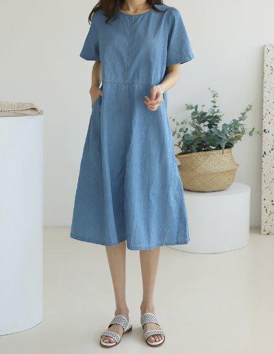 indibrand-힙 데님 원피스 (수입)♡韓國女裝連身裙