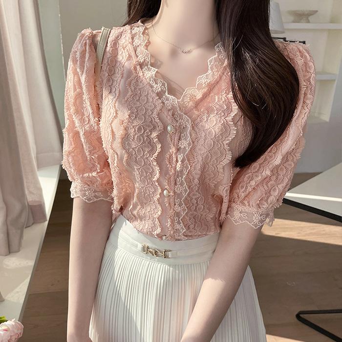 myfiona-리블리 브이넥 믈결레이스 블라우스 a1480 - 러블리 로맨틱 1위 쇼핑몰 피오나♡韓國女裝上衣