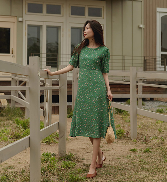 justone-릴리 깔끔핏 플라워 원피스♡韓國女裝連身裙