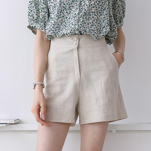 misscandy-[no.20399 하이웨스트 투버튼 린넨팬츠]♡韓國女裝褲