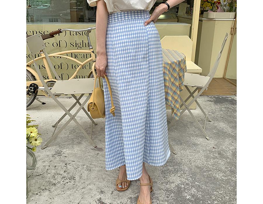 frombeginning-머메이드 밴딩체크롱스커트 (2color)♡韓國女裝裙
