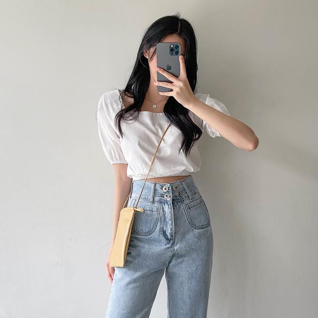 sonyunara-로아 린넨 스퀘어넥 크롭 모던 반팔 블라우스♡韓國女裝上衣