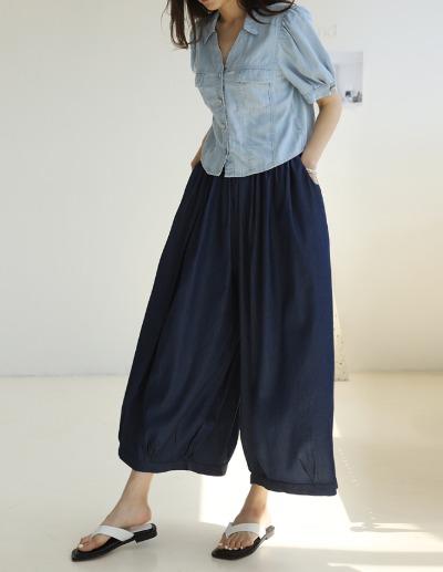 indibrand-데님 스커트 팬츠 (수입)♡韓國女裝褲