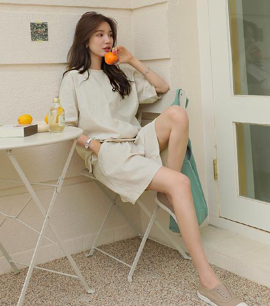 roompacker-룸페커 [[세트상품]린넨 맨투맨 & 5부쇼츠]♡韓國女裝套裝