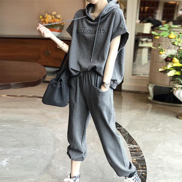 fashion-full-푸키 트레이닝 반팔 후드 & 조거 팬츠 SET(TIME SALE 25%)♡韓國女裝套裝