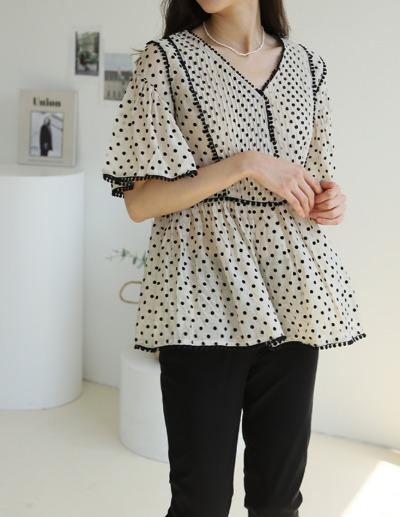 indibrand-벨 도트 블라우스 (수입)♡韓國女裝上衣