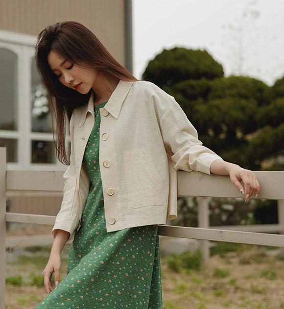 justone-아린 포켓 뒷셔링 린넨자켓♡韓國女裝外套
