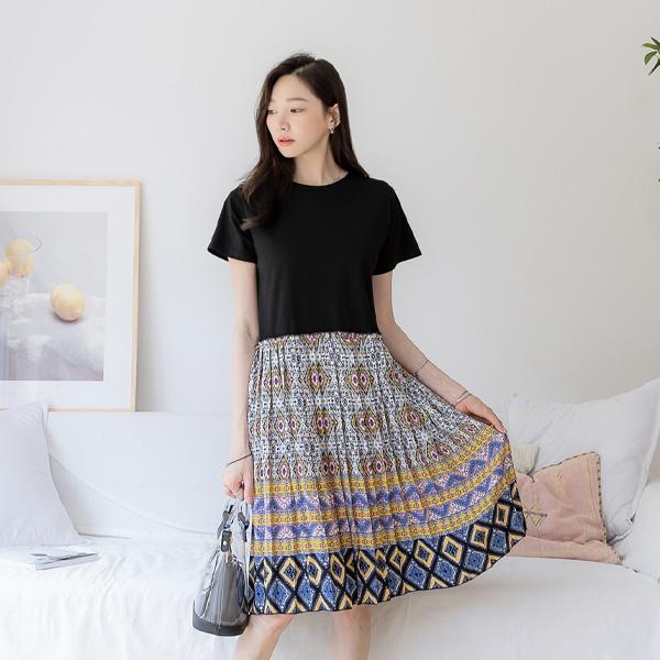 misscandy-[no.17502 에스닉패턴 플리츠주름 루즈핏원피스]♡韓國女裝連身裙