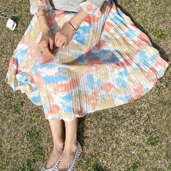 lemite-스며들어 나염스커트(허리전체밴딩)♡韓國女裝裙
