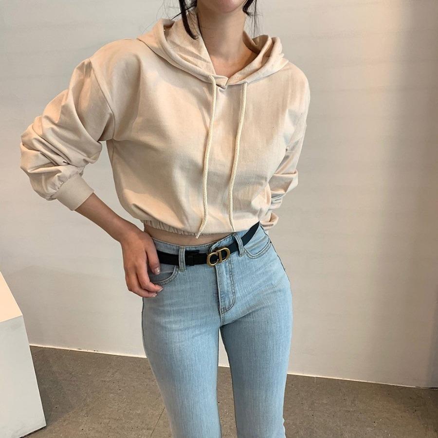 jjrella-쭈리 크롭 후드 티셔츠♡韓國女裝上衣