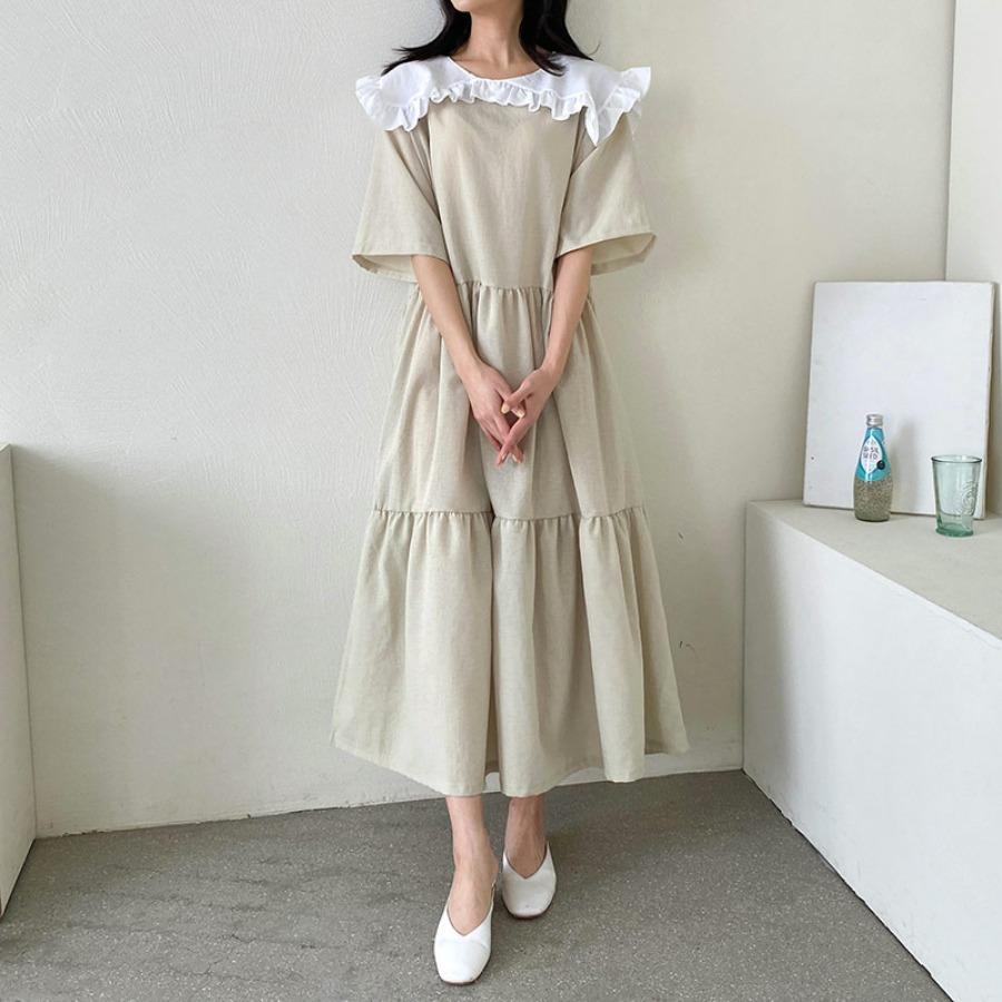jjrella-오리오 프릴 빅카라 세일러 박시 캉캉 롱 원피스♡韓國女裝連身裙