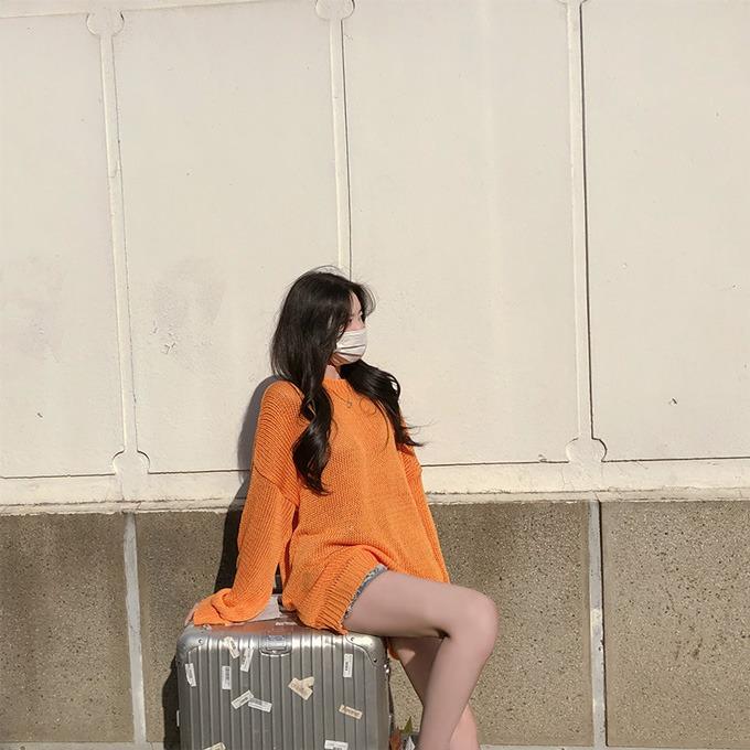 henique-오렌지비타민 루즈핏 라운드 니트 (오렌지/아이보리/블랙/퍼플/핑크/블루)♡韓國女裝上衣