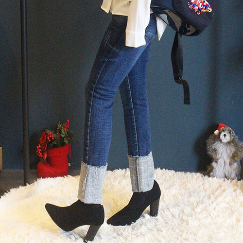 jennifereryn-여자 여성 반 기모 데님 롤업 중청 스키니 바지팬츠 (키작녀청바지)♡韓國女裝褲