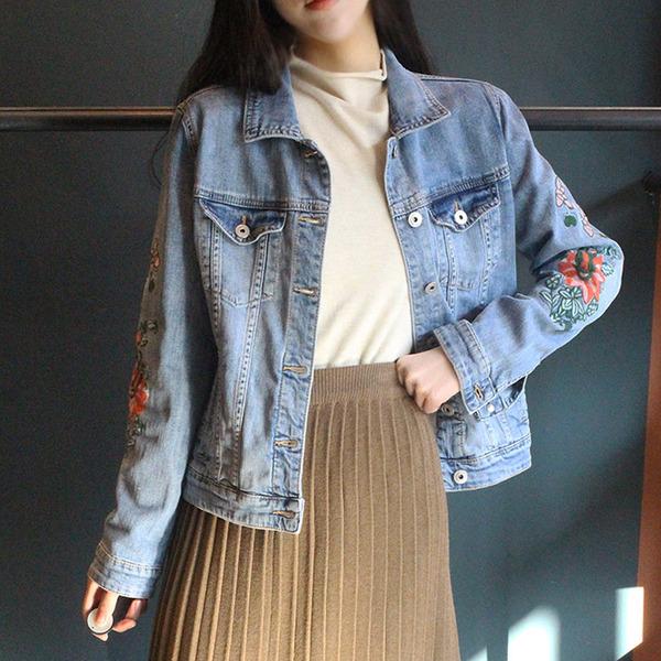 jennifereryn-인기 고퀄꽃자 수데님 청자켓 JK jn1J-01♡韓國女裝外套
