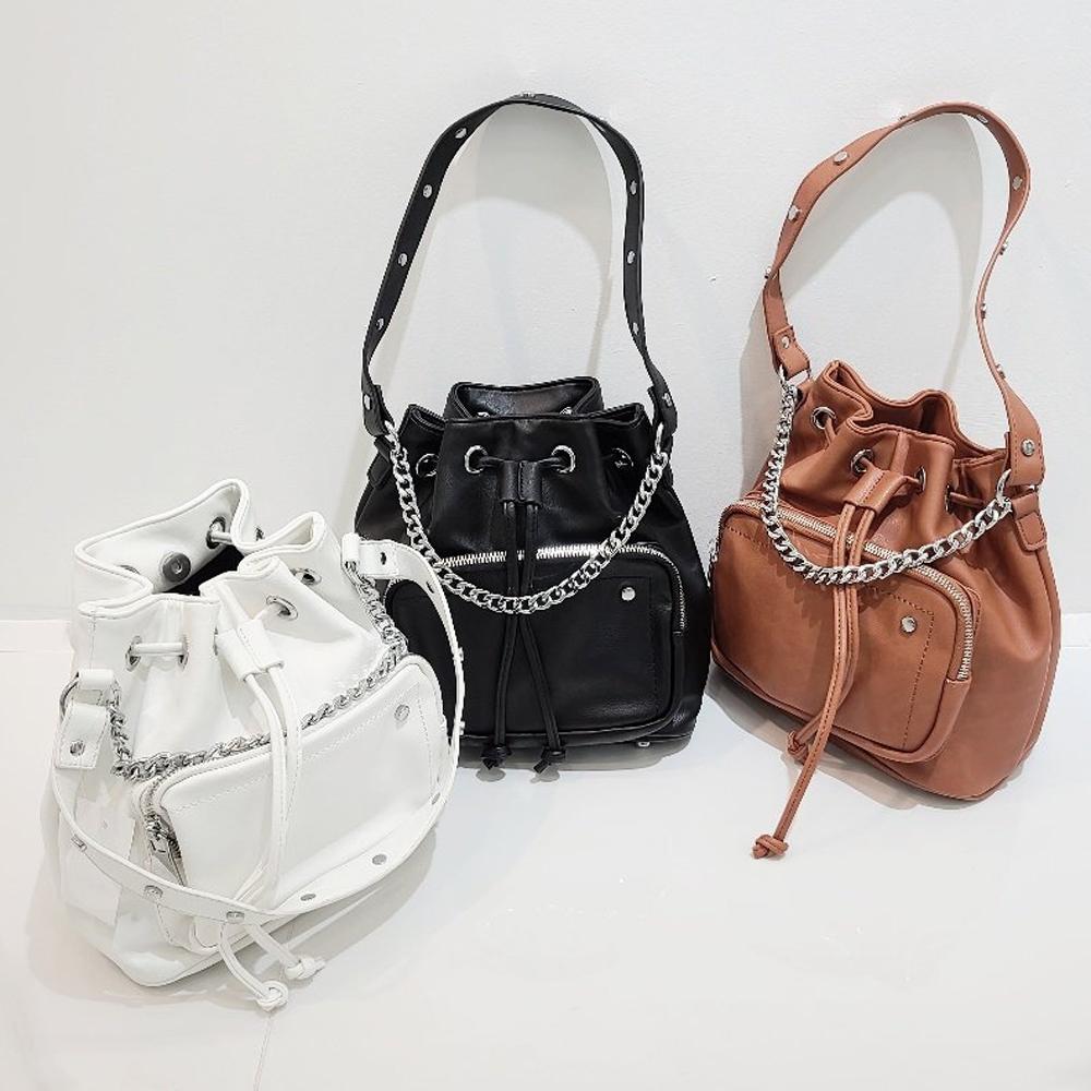 uinme-(3가지 스트랩) 실버 체인 버킷백 - [ 2color ] - 유인미(3가지 스트랩) 실버 체인 버킷백 - [ 2color ] - 유인미♡韓國女裝袋
