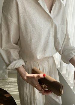 ifgirl-히르 줄지 셔츠(2color)♡韓國女裝上衣