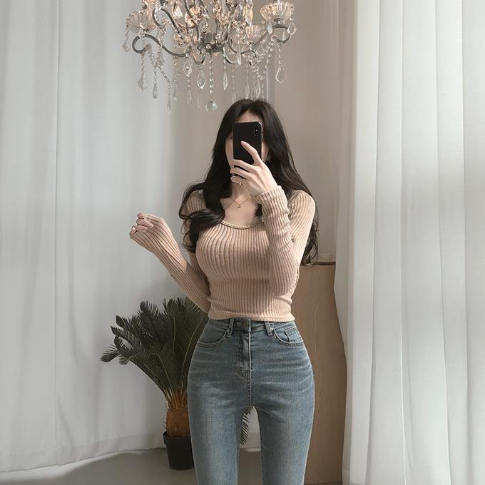 henique-아포가토 유넥 크롭 골지 니트 티셔츠 (블랙/베이지/아이보리/핑크)♡韓國女裝上衣