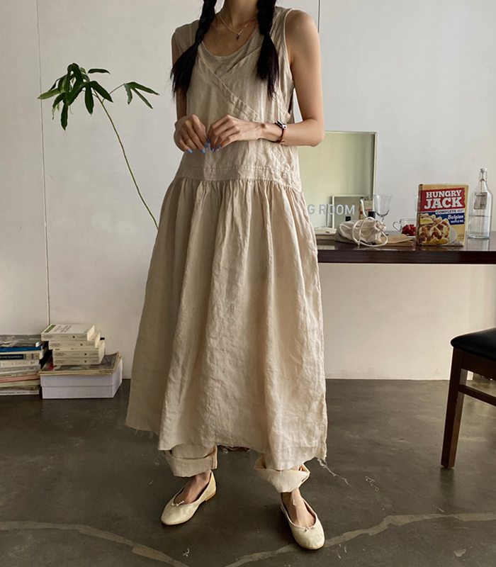 sibuya-[메이 린넨 슬리브리스 ops]♡韓國女裝連身裙