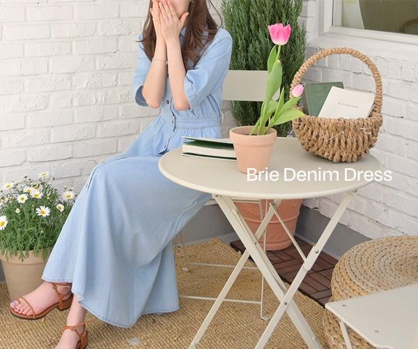 DailyN-(무배)브리 캐주얼 카라 데님 롱 셔츠 원피스♡韓國女裝連身裙