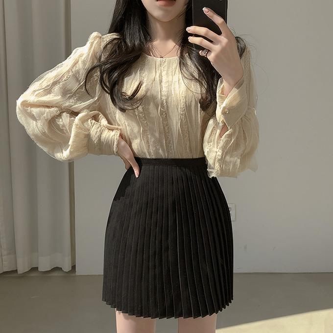 henique-이쁜이 망사 레이스 퍼프 소매 블라우스 (크림/블루/아이보리)♡韓國女裝上衣