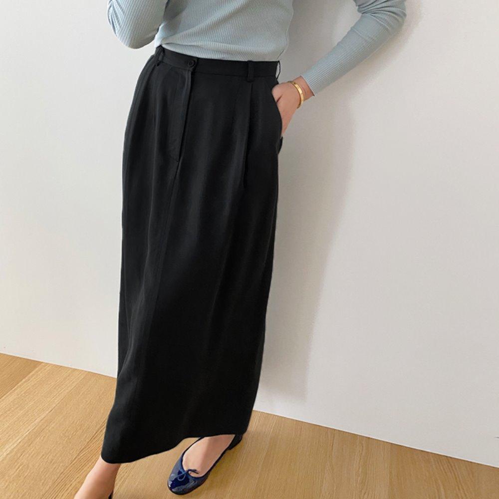 littleblack-텐셀 핀턱 롱 스커트(S, M)♡韓國女裝裙