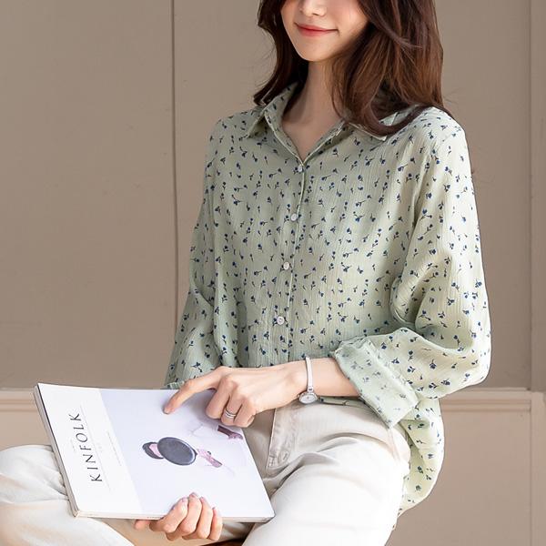 misscandy-[no.20289 블루꽃 라운딩밑단 루즈핏 셔츠]♡韓國女裝上衣