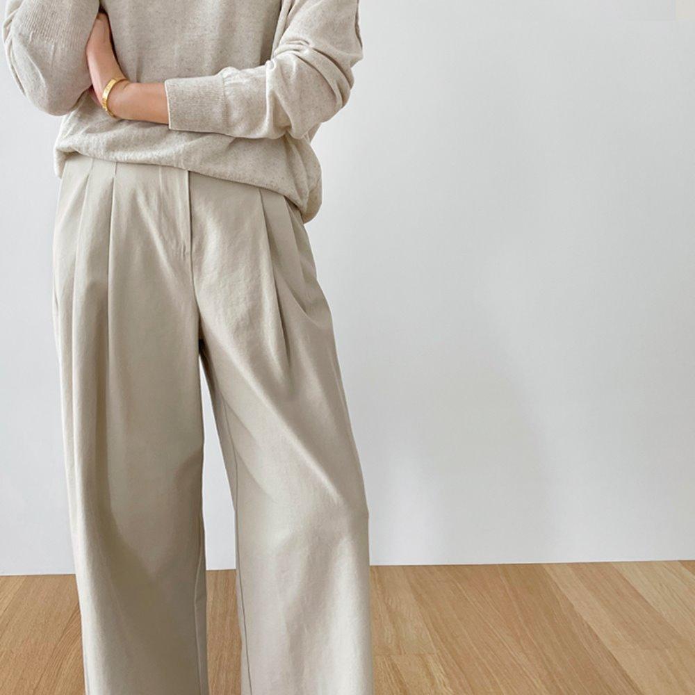 littleblack-핀턱 볼륨 코튼 팬츠(S, M)♡韓國女裝褲