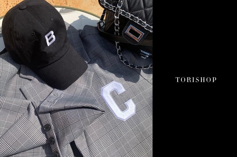 torishop-셀스 체크자수 오버핏JK (2color)♡韓國女裝外套
