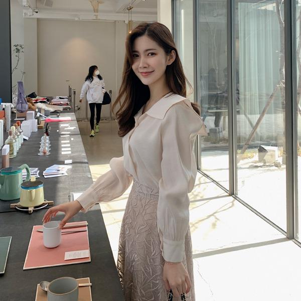 benito-아멜라 모달 블라우스 신상/카라/하객/하객룩/블라우스/빅카라/왕카라/베스트/여성/데일리♡韓國女裝上衣