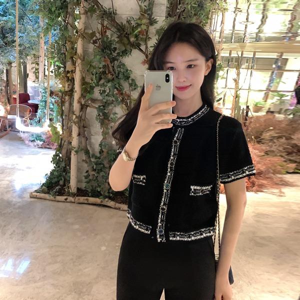 benito-로얄드 트위드 배색 가디건신상/트위드/라운드/반팔/가디건/배색/베스트/여성/데일리♡韓國女裝外套